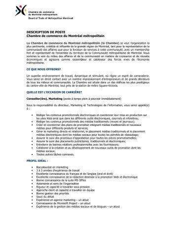 Description de poste technicien ou technicienne comptable for Chambre de commerce de magog