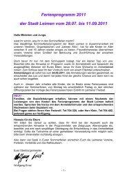 Ferienprogramm 2011 der Stadt Leimen vom 28.07. bis 11.09.2011