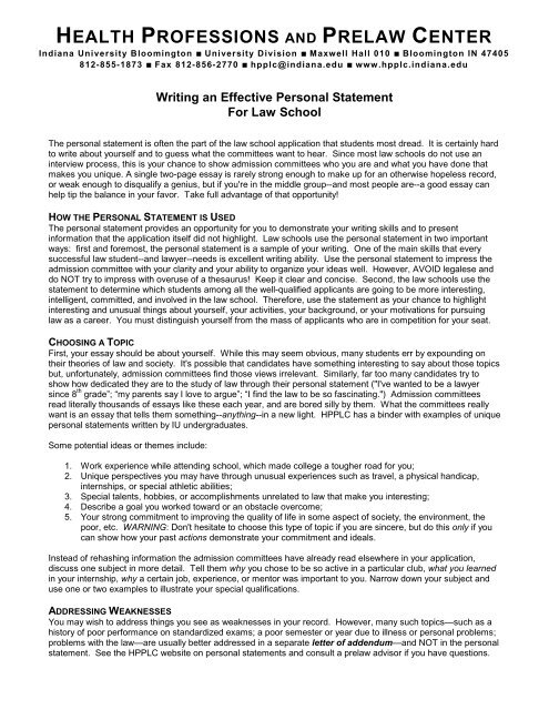 Law School Admission Personal Statement