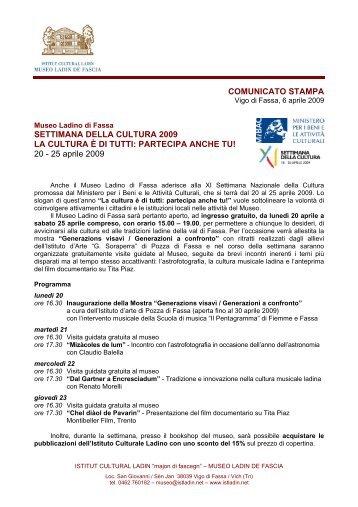 COMUNICATO STAMPA SETTIMANA DELLA CULTURA 2009 LA ...
