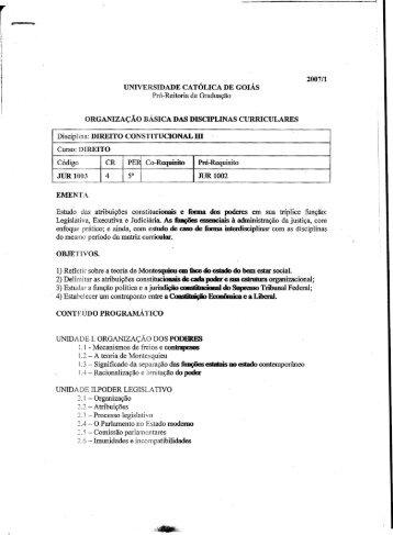 2007/1 UNIVERSIDADE CATÓLICA DE GOIÁS Pró-Reitoria de ...