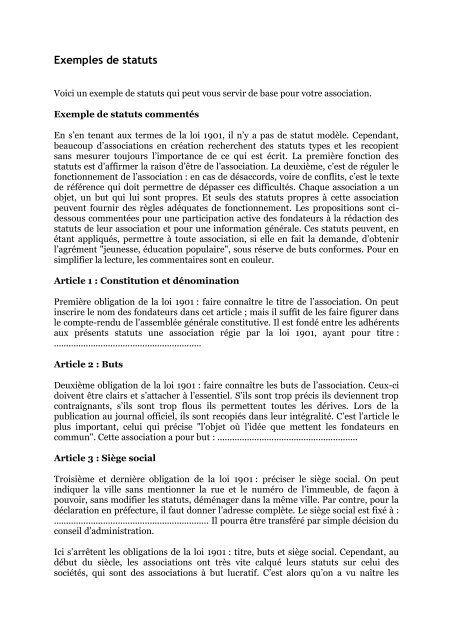 Exemples De Statuts Extranet Ffvb