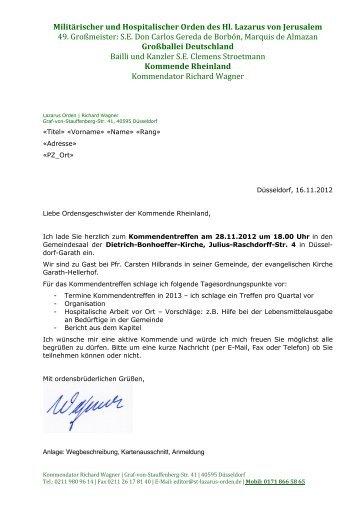 Kommende Rheinland - Lazarus Orden in Deutschland