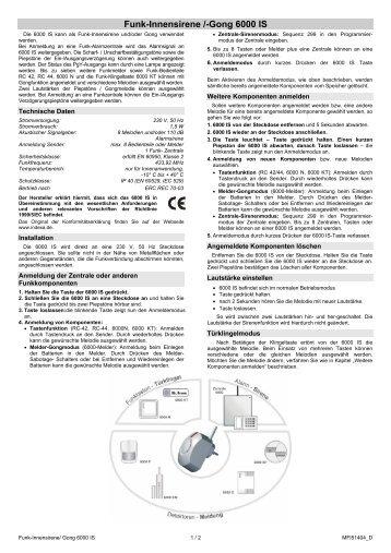 Funk-Innensirene /-Gong 6000 IS - Indexa