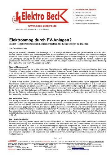 Elektrosmog durch PV-Anlagen_2010 - Josef Beck Elektro