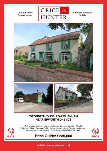 Price Guide: £245000 'SPONDEN HOUSE' - Grice & Hunter