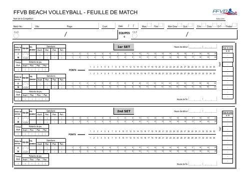 Feuille de match Beach Volley - Extranet FFVB