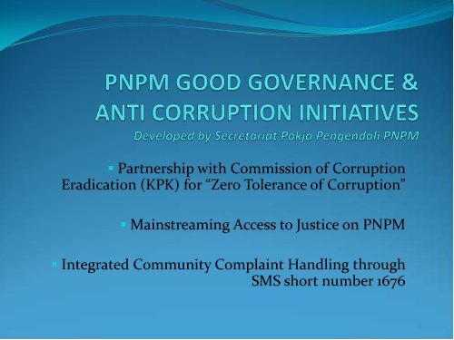 PNPM Good Governance and Anti-Corruption Initiatives, Developed ...