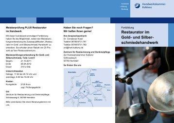 Neue Kurse zum Restaurator 2012 - beim Zentralverband der ...