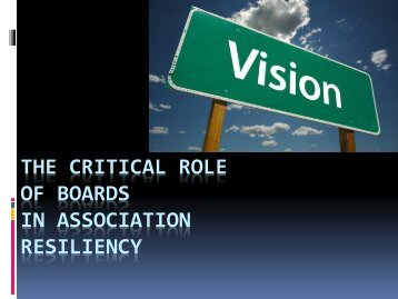 The Critical Role of Boards in Association resiliency - Floodplain ...