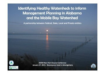 Identifying Healthy Watersheds to inform Management Planning in ...
