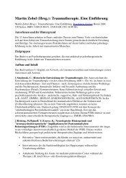 Martin Zobel (Hrsg.): Traumatherapie. Eine ... - Dr. Martin Zobel