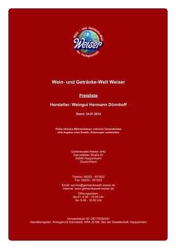 Preisliste - und Getränke-Welt Weiser