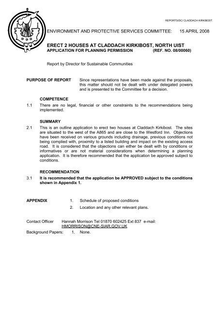 Standard Report for Planning Applications - Comhairle nan Eilean Siar