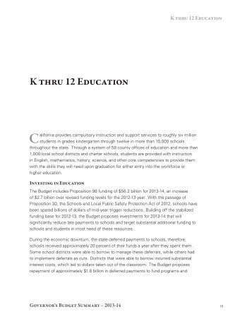 K thru 12 Education - California State Budget