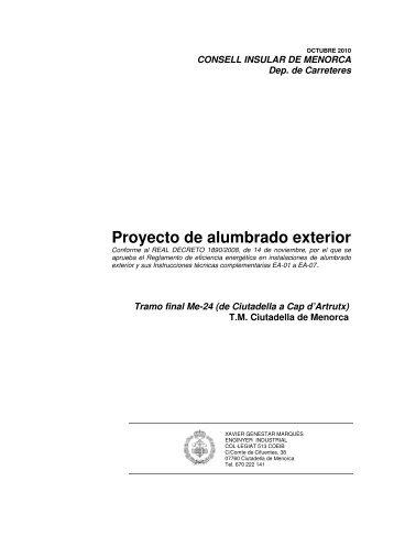 Proyecto de alumbrado exterior - Consell Insular de Menorca