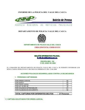 informe de la policia del valle del cauca departamento