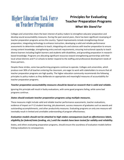 Is Teacher Preparation Failing Students >> Principles For Evaluating Teacher Preparation Programs