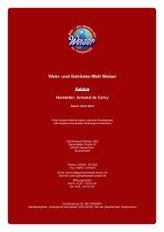 Katalog für Hersteller: Armand de Corcy - und Getränke-Welt Weiser