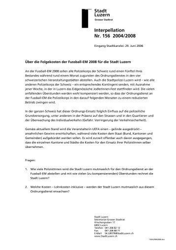 Stadt Luzern Interpellation Nr. 156 2004/2008 - Hans Stutz