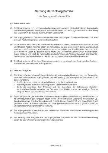 Satzung der Kolpingsfamilie - Kolpingjugend - Kolpingwerk ...