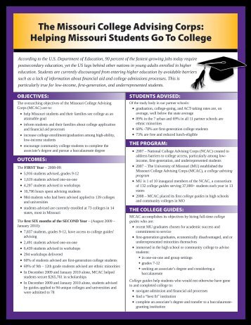 Helping Missouri Students Go To College - MCAC - University of ...