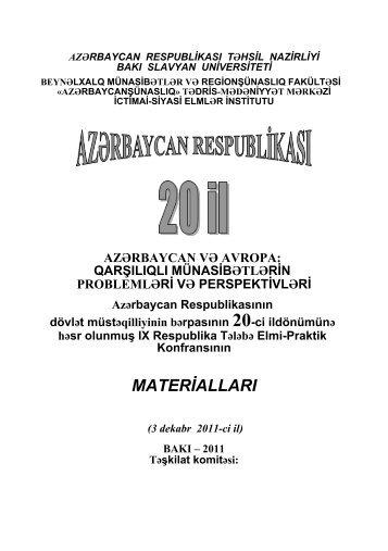 MATERİALLARI - Bakı Slavyan Universiteti