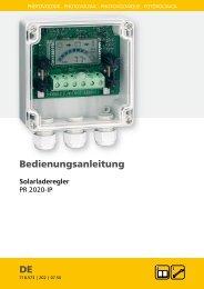 Bedienungsanleitung DE - Solaranlagen / Photovoltaik