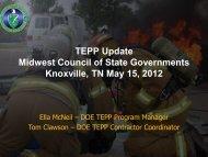 Tom Clawson, TEPP Update - CSG Midwest