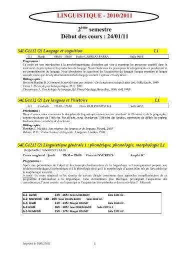 linguistique 2ème semestre 10-11