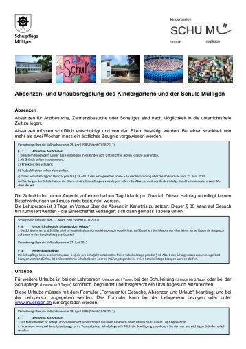 Absenzen- und Urlaubsregelung des Kindergartens und der Schule ...