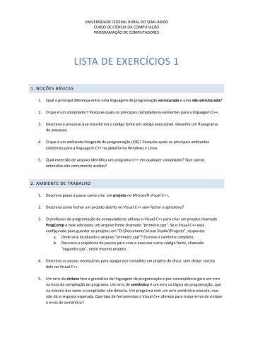 LISTA DE EXERCÍCIOS 1 - Ufersa
