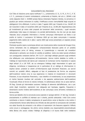 SVOLGIMENTO DEL PROCESSO Con l'atto di ... - Dirittoefinanza.it