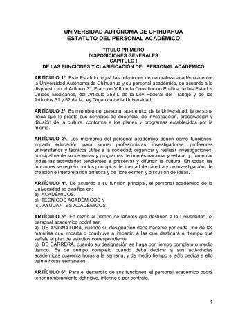 Estatuto del personal Académico - Transparencia - Universidad ...