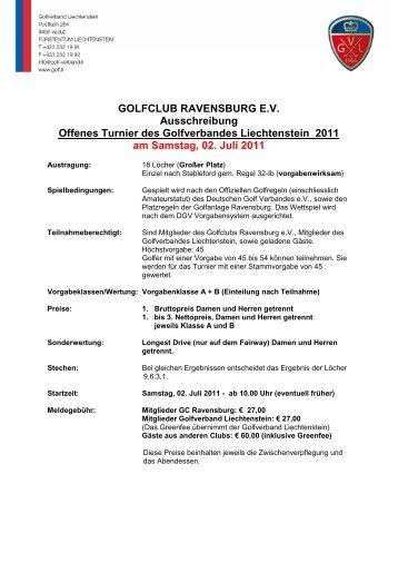 GOLFCLUB RAVENSBURG E.V. Ausschreibung ... - Golf-verband.li