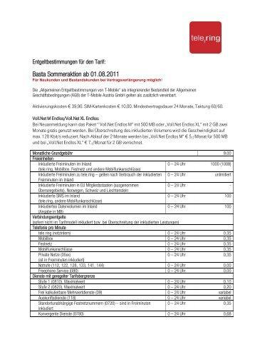 Basta Sommeraktion ab 01.08.2011