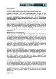 Medienmitteilung Brain Bus vom 7. April 2011