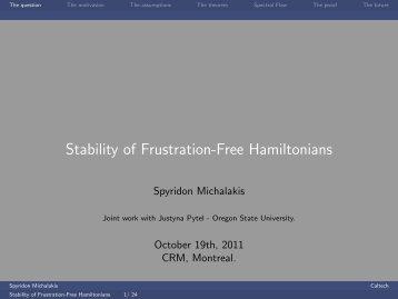 Stability of Frustration-Free Hamiltonians - EPIQ