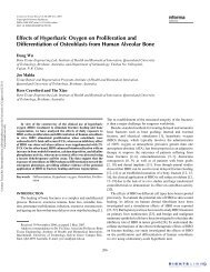 Effects of Hyperbaric Oxygen on Proliferation and Differentiation of ...