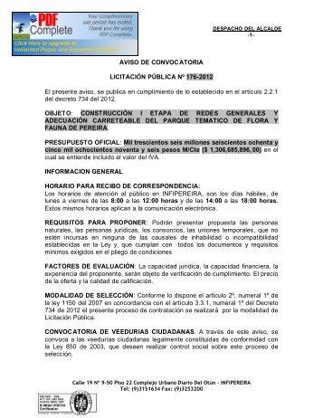 AVISO DE CONVOCATORIA LICITACIÓN PÚBLICA Nº 176-2012 El ...
