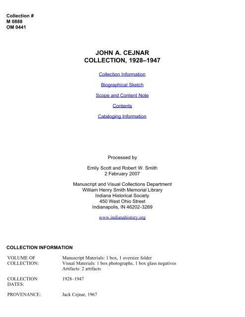 John A  Cejnar Collection, 1928-1947 - Indiana Historical