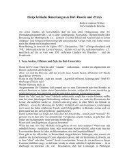 Einige kritische Bemerkungen zu DaF-Theorie und -Praxis