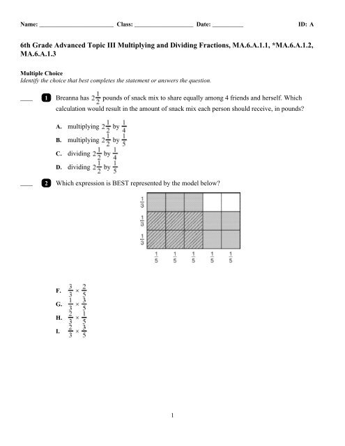 6th Grade Advanced Topic III Multiplying and Dividing ...