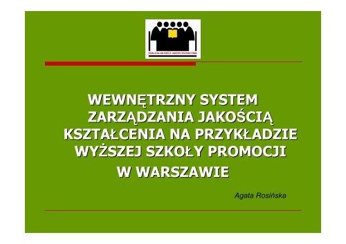 wewnętrzny system zarządzania jakością kształcenia na przykładzie ...