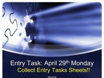 Entry Task: May 1st - 2nd Block #1 - Spokane Public Schools