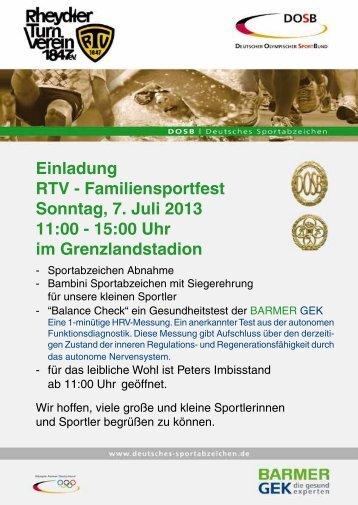 Familiensportfest Sonntag, 7. Juli 2013 11:00 ... - beim Rheydter TV