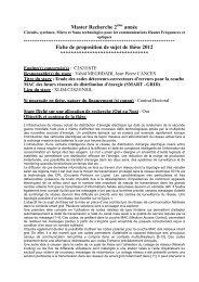 Fiche de proposition de sujet de thèse 2012