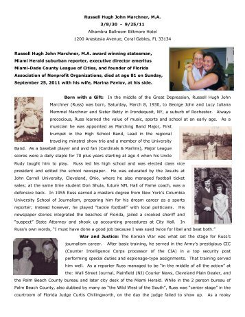 Russ Marchner Biography with Pictures - Blacktie South Florida