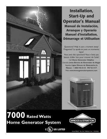 know your home generator system - NoOutage.com, LLC