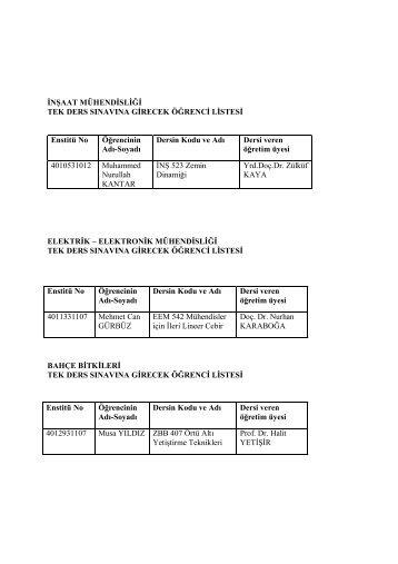 14.06.2012 tarih ve saat 10.00 da yapılacak Tek Ders Sınavına ...